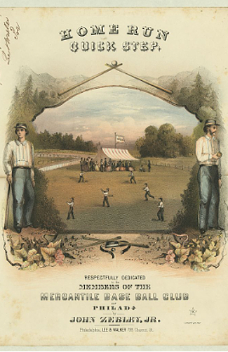 Baseball scene in the 1800s
